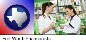 two pharmacists in a drug store in Fort Worth, TX