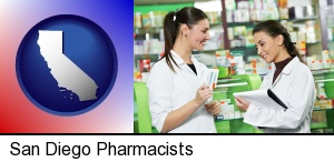 two pharmacists in a drug store in San Diego, CA