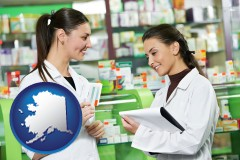 alaska map icon and two pharmacists in a drug store