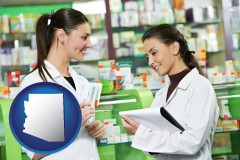 arizona map icon and two pharmacists in a drug store