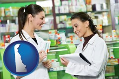 delaware map icon and two pharmacists in a drug store