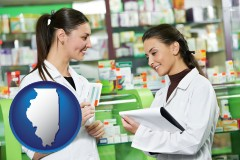 illinois map icon and two pharmacists in a drug store