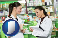 indiana map icon and two pharmacists in a drug store