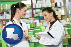 louisiana map icon and two pharmacists in a drug store