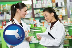 massachusetts map icon and two pharmacists in a drug store