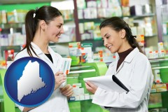 maine map icon and two pharmacists in a drug store