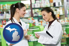 michigan map icon and two pharmacists in a drug store