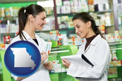 missouri map icon and two pharmacists in a drug store