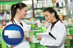 nebraska map icon and two pharmacists in a drug store