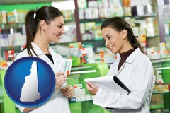 new-hampshire map icon and two pharmacists in a drug store