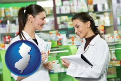 new-jersey map icon and two pharmacists in a drug store
