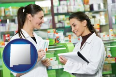 new-mexico map icon and two pharmacists in a drug store