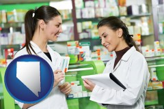 nevada map icon and two pharmacists in a drug store