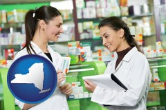 new-york map icon and two pharmacists in a drug store