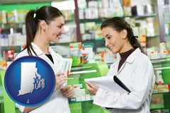 rhode-island map icon and two pharmacists in a drug store