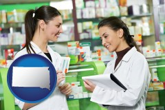 south-dakota map icon and two pharmacists in a drug store
