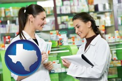 texas two pharmacists in a drug store