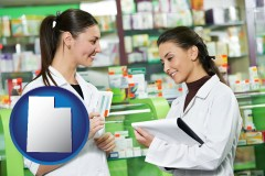 utah map icon and two pharmacists in a drug store
