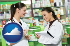 virginia two pharmacists in a drug store