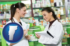 vermont map icon and two pharmacists in a drug store